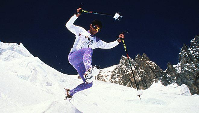 Adriano Greco en la primera prueba de skyrunning en el Mont Blanc en 1992. Foto de Dario Ferro