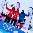 Podio masculino de la prueba Individual de Esquí de Montaña en los Juegos Olímpicos de Lausanne 2020