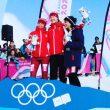 Podio femenino de la prueba Individual de Esquí de Montaña en los Juegos Olímpicos de Lausanne 2020