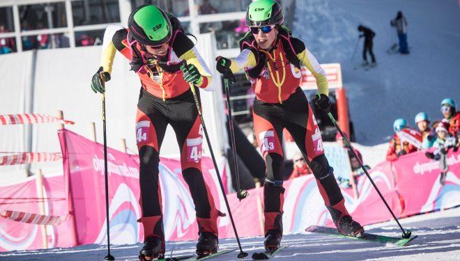 Esquiadores españoles en los relevos de los JJ.OO. de la Juventud Lausanne 2020